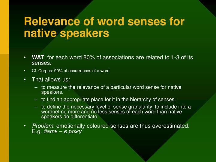 Relevance of word senses for native speakers