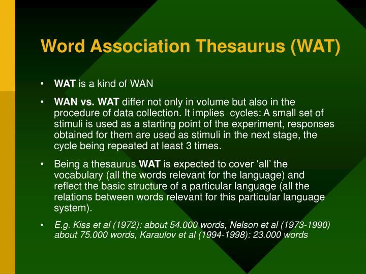 Word Association Thesaurus (WAT)