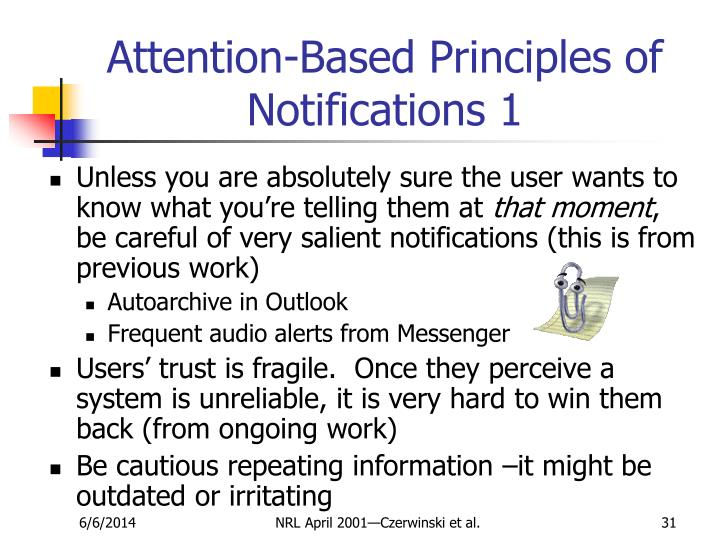 Attention-Based Principles of Notifications 1