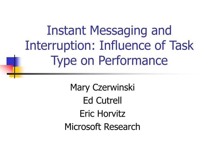 Instant messaging and interruption influence of task type on performance