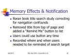 memory effects notification