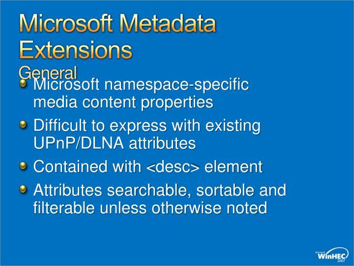 Microsoft Metadata Extensions