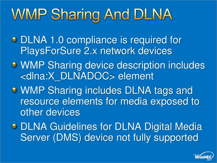 WMP Sharing And DLNA