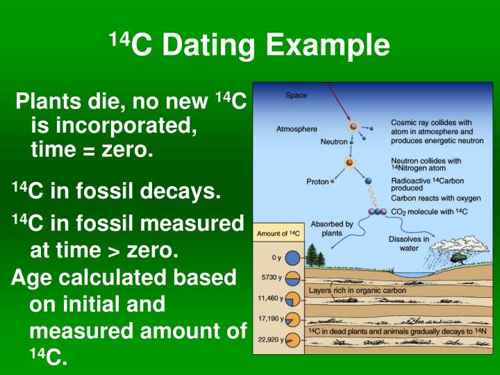c 14 dating example Archaeologists have long used carbon-14 dating (also known as radiocarbon dating) to estimate the age of certain objects traditional.