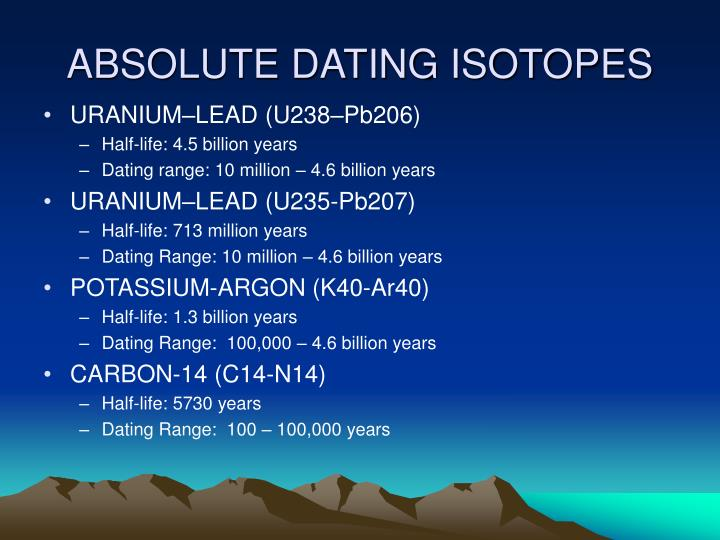 ABSOLUTE DATING ISOTOPES
