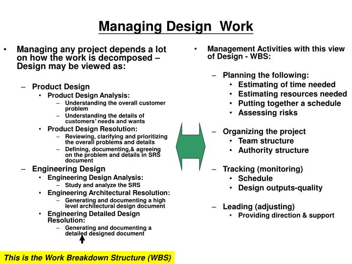 Managing any project depends a lot on how the work is decomposed – Design may be viewed as: