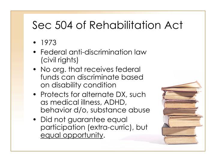 Sec 504 of Rehabilitation Act