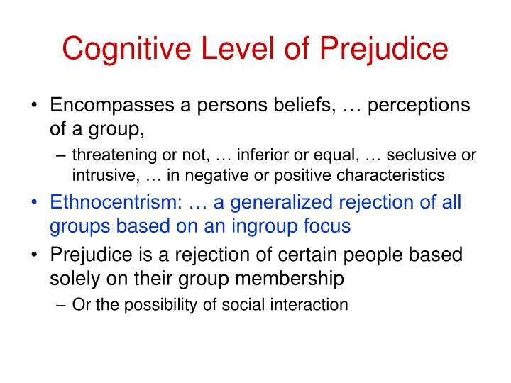 Cognitive Level of Prejudice