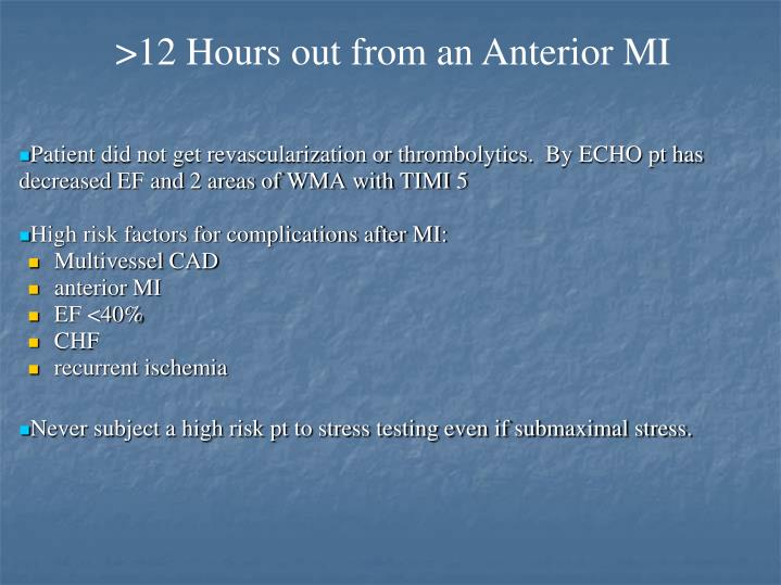 >12 Hours out from an Anterior MI