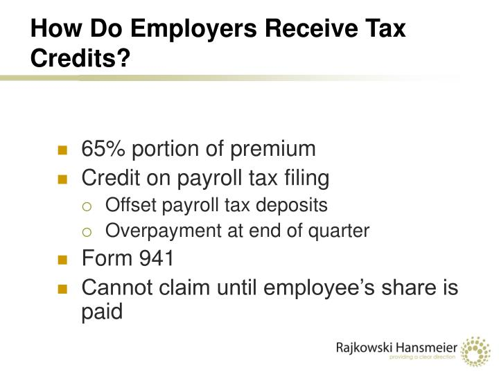 How Do Employers Receive Tax Credits?