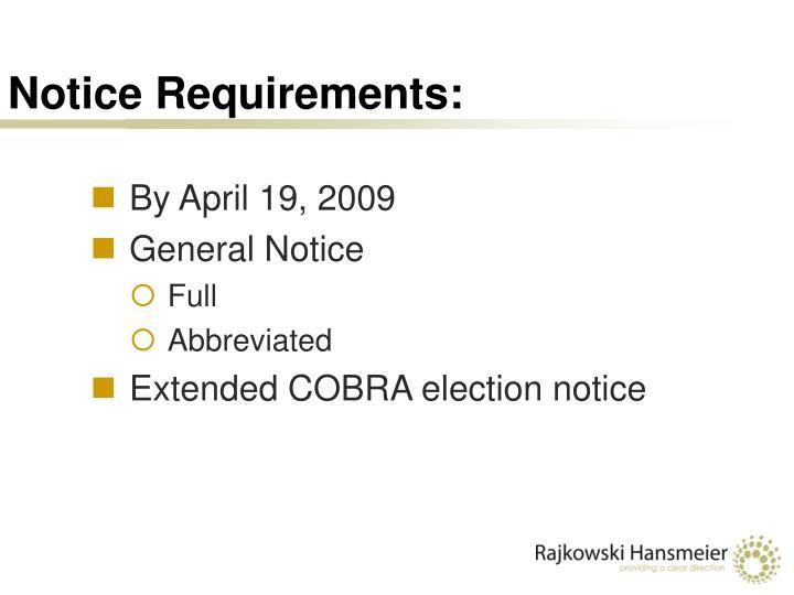 Notice Requirements: