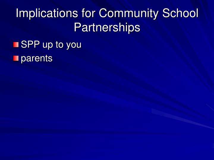 Implications for Community School Partnerships