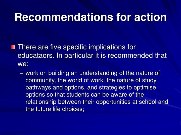 Recommendations for action