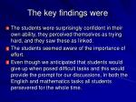 the key findings were