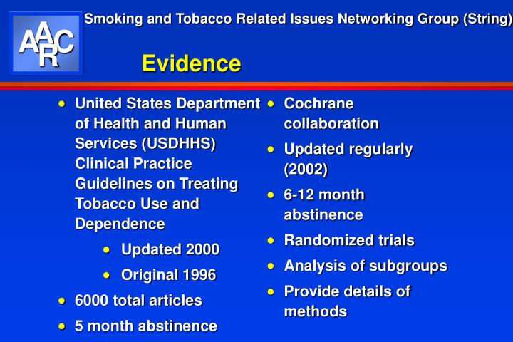 United States Department of Health and Human Services (USDHHS) Clinical Practice Guidelines on Treating Tobacco Use and Dependence