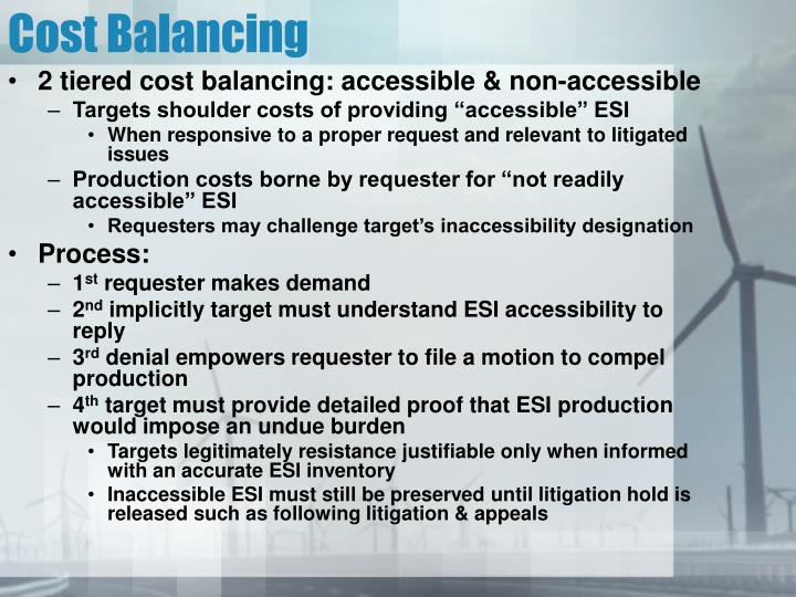 Cost Balancing
