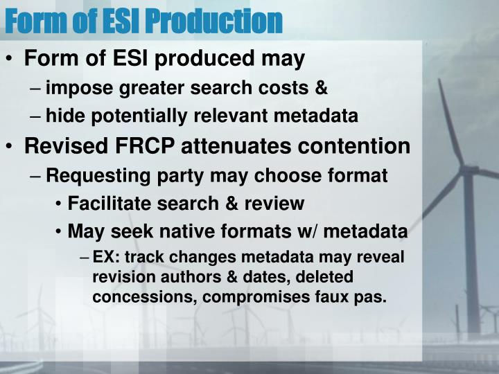 Form of ESI Production