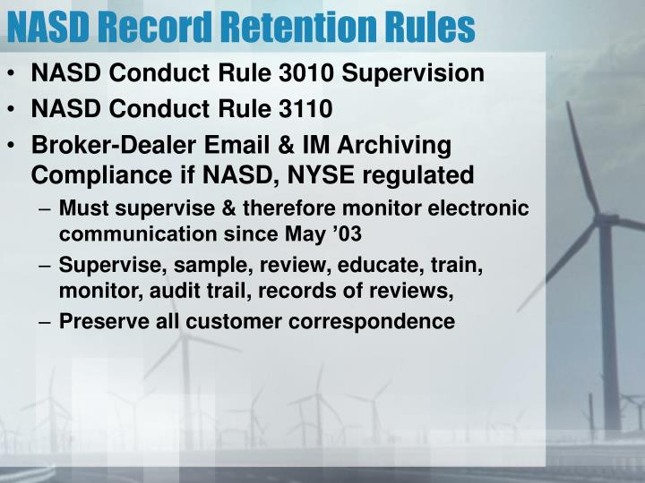 NASD Record Retention Rules