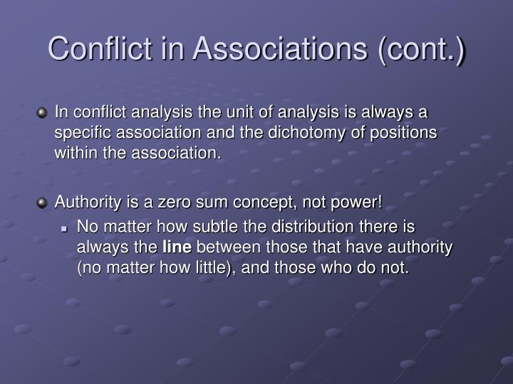 Conflict in Associations (cont.)