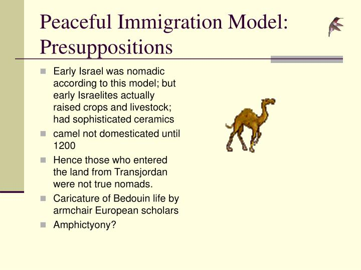 Peaceful Immigration Model:  Presuppositions