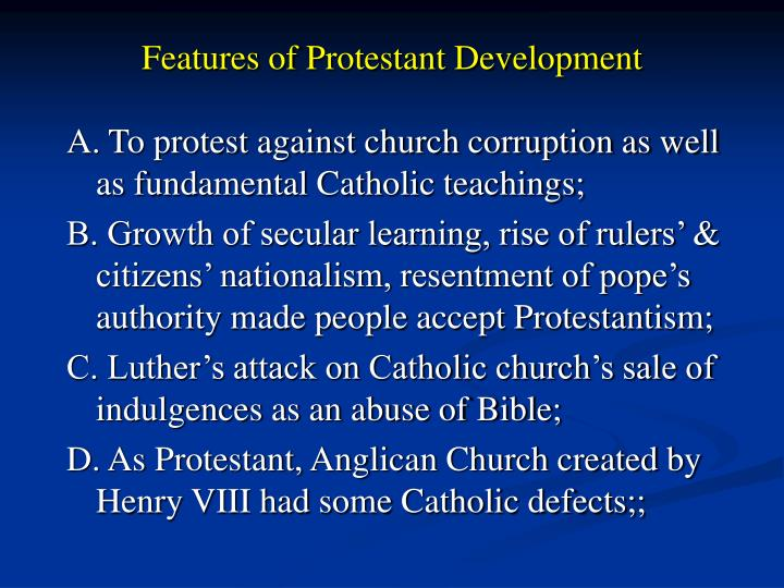 Features of Protestant Development