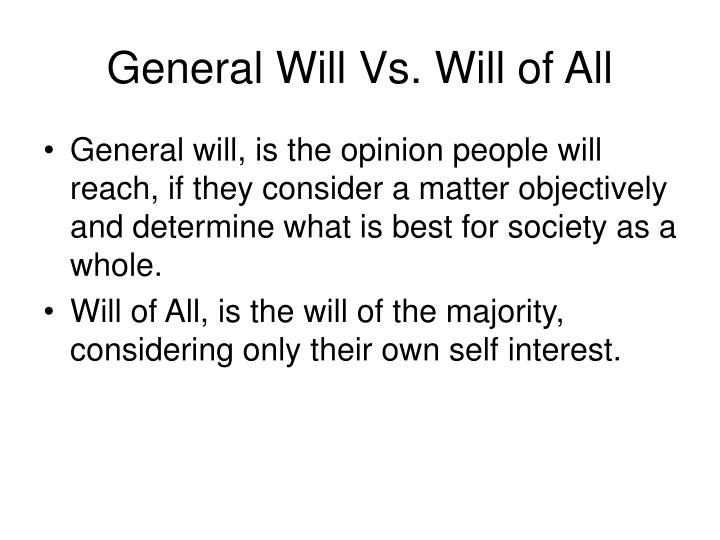 General Will Vs. Will of All
