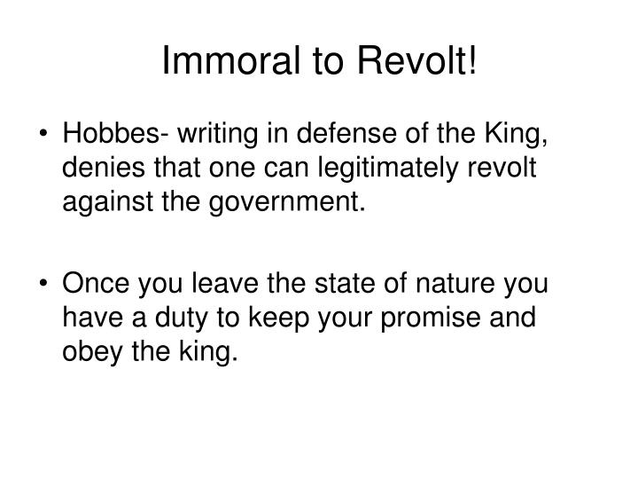 Immoral to Revolt!