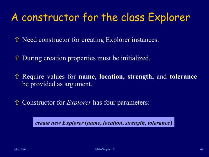 A constructor for the class Explorer