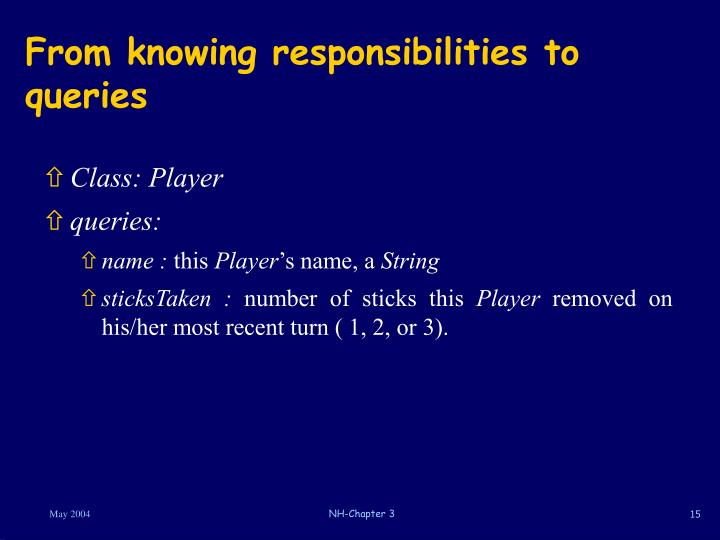 From knowing responsibilities to queries