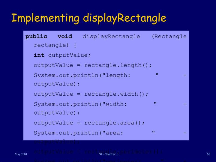 Implementing displayRectangle