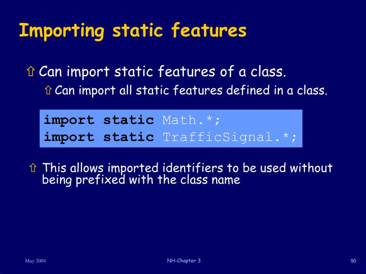 Importing static features