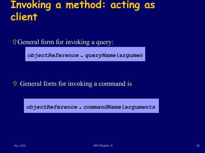 Invoking a method: acting as client