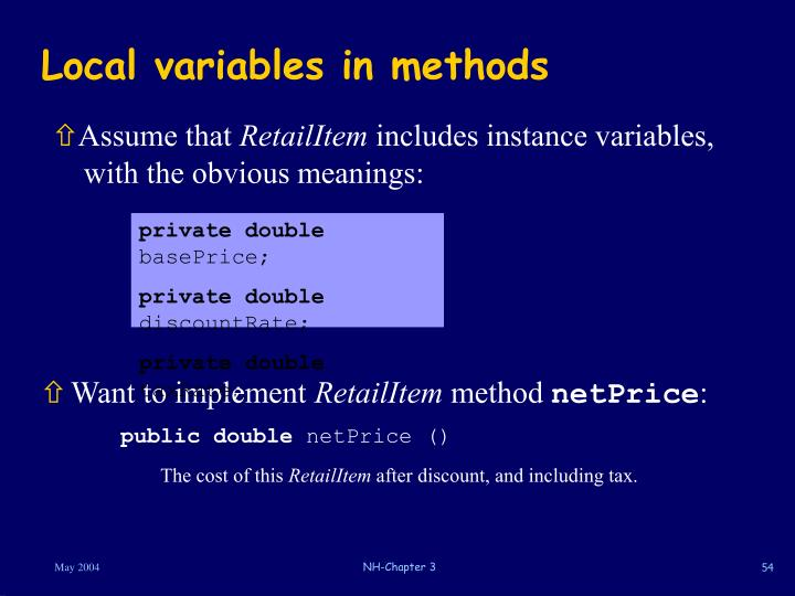 Local variables in methods