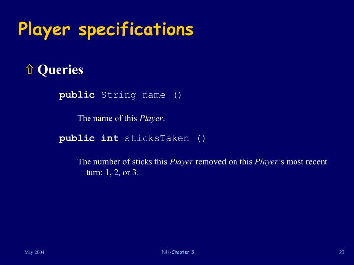 Player specifications