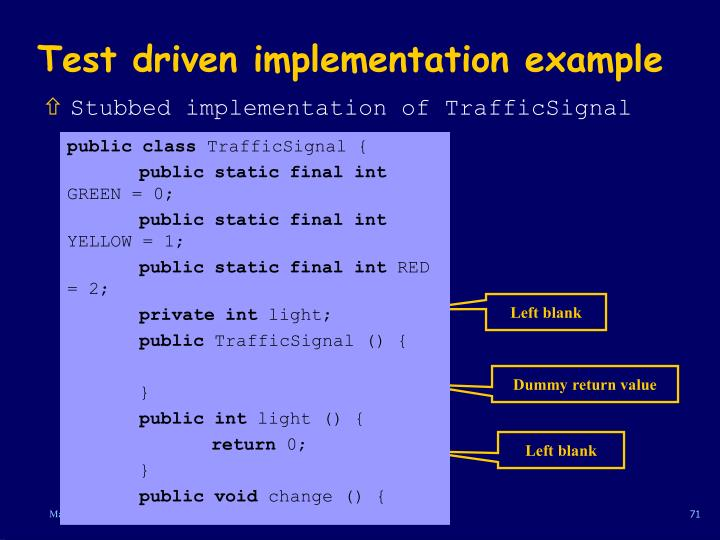 Test driven implementation example
