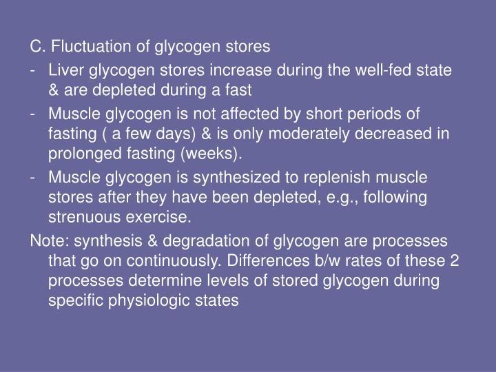 C. Fluctuation of glycogen stores