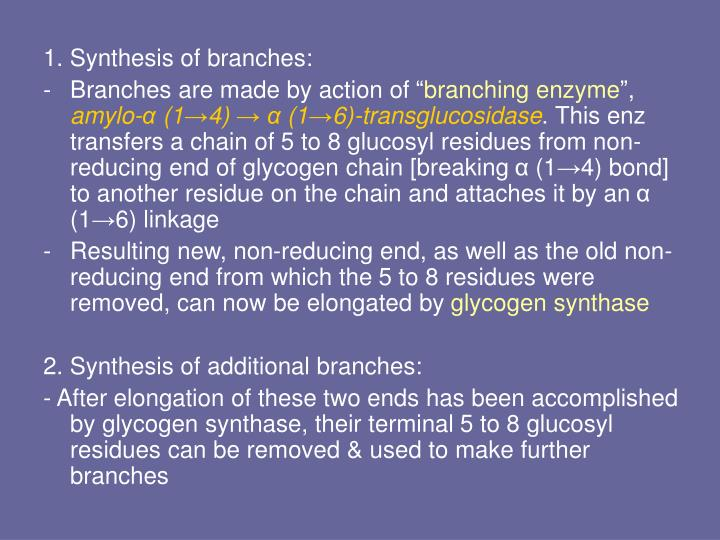 1. Synthesis of branches:
