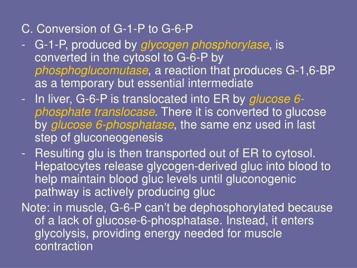 C. Conversion of G-1-P to G-6-P