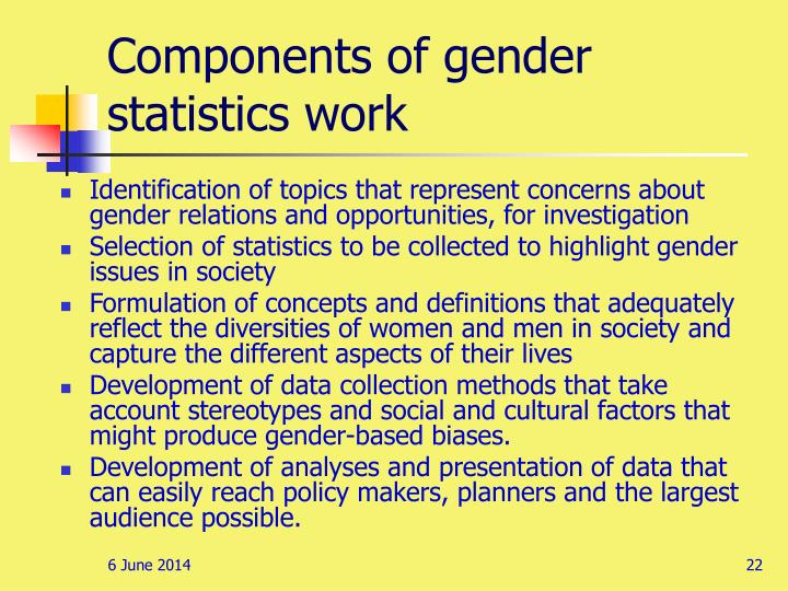 Components of gender statistics work