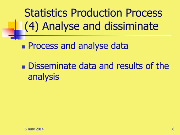 Statistics Production Process (4) Analyse and dissiminate