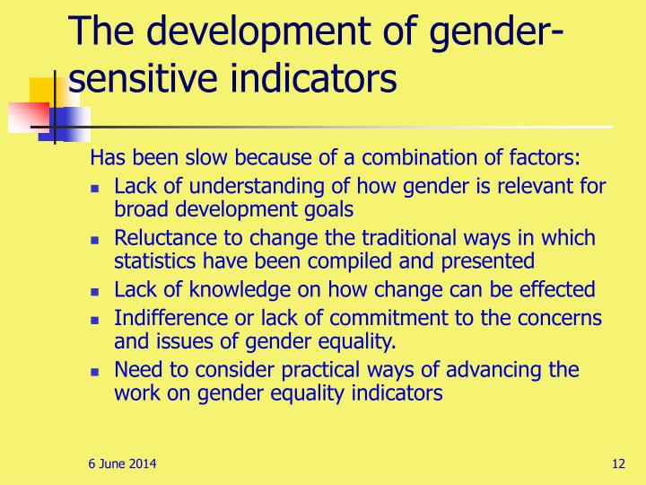 The development of gender-sensitive indicators