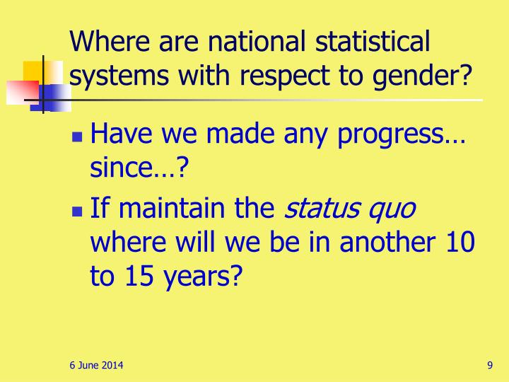 Where are national statistical systems with respect to gender?