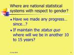 where are national statistical systems with respect to gender