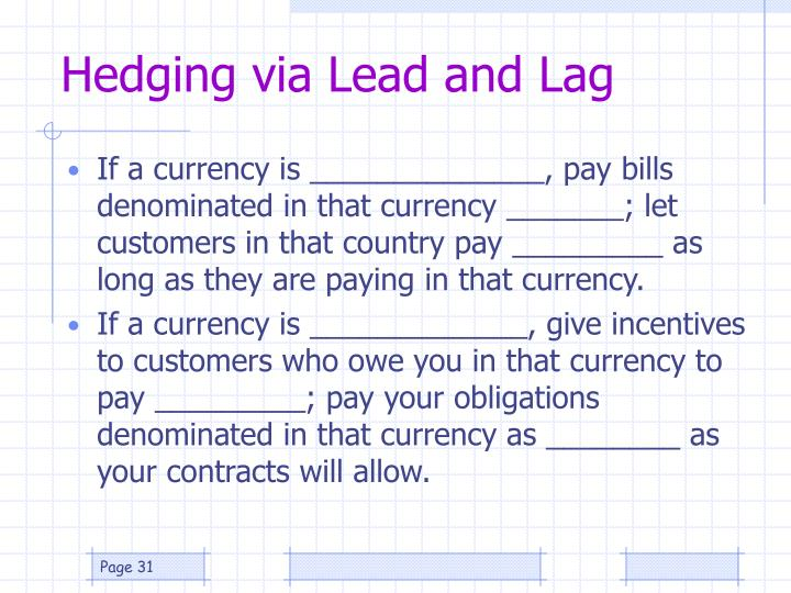 Hedging via Lead and Lag