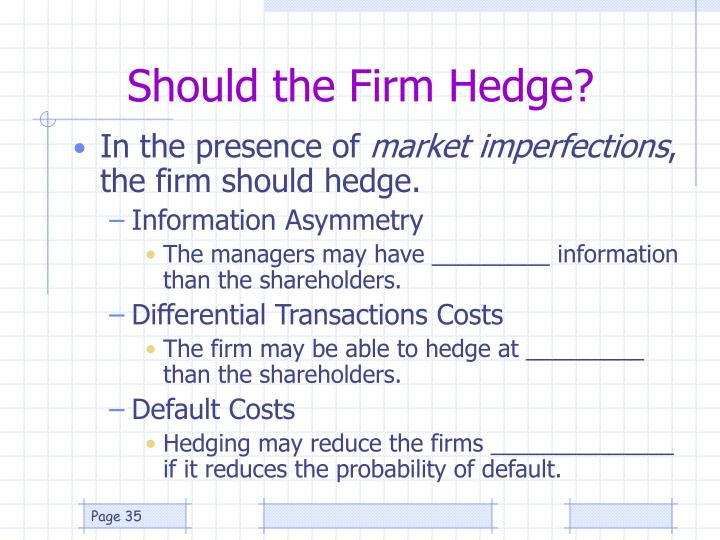 Should the Firm Hedge?