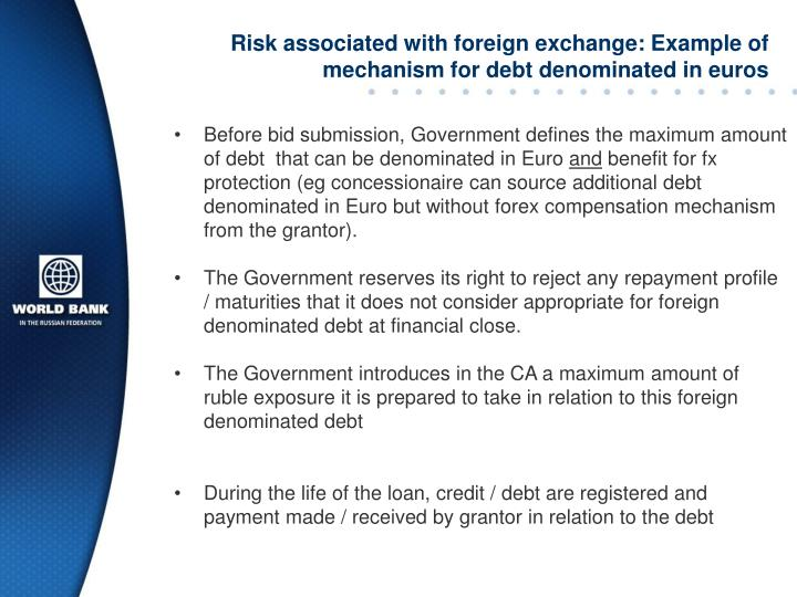 Risk associated with foreign exchange: Example of mechanism for debt denominated in euros