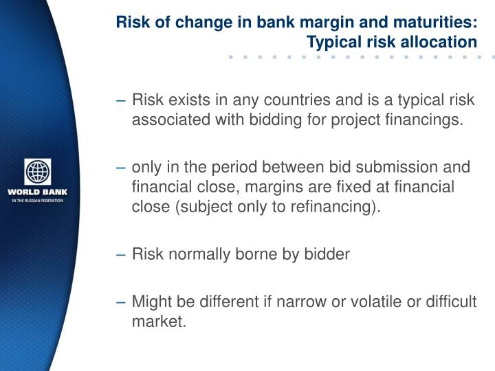 Risk of change in bank margin and maturities: Typical risk allocation