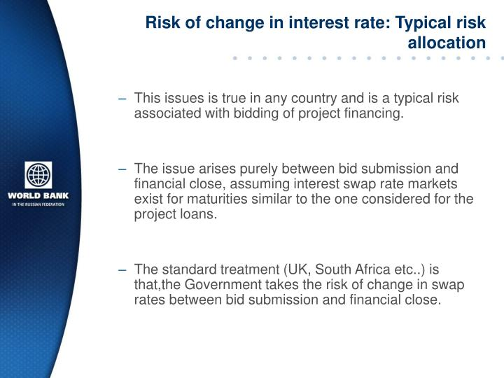 Risk of change in interest rate: Typical risk allocation