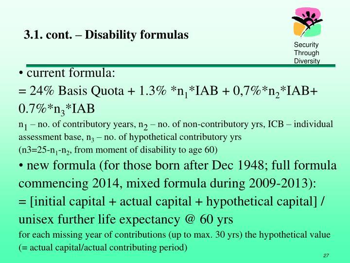 3.1. cont. – Disability formulas