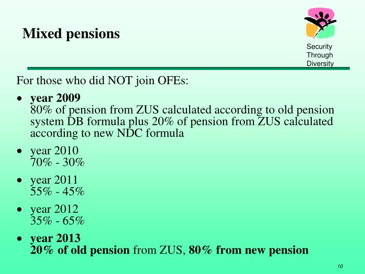 Mixed pensions